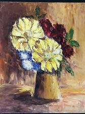 Bouquet nature morte peinture au couteau Huile sur toile signée G. Bergier 97