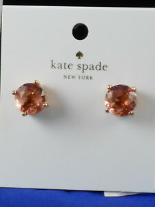 Kate Spade Rose Gold Plated GUMDROPS Light Peach Round Crystal Stud Earrings $32