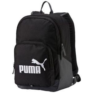 Puma Phase Backpack Rucksack Bag School Gym Sport Training Travel Black Unisex