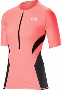 TYR Competitor Multi-Sport Top - Gray/Coral, Short Sleeve, Women's, Large