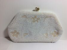 Vintage Beaded White Floral Clutch Purse Kisslock Hand Bag