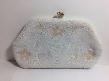 Vintage Beaded White Floral Clutch Purse Kisslock