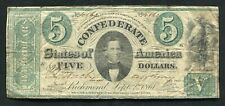 "T-33 1861 $5 FIVE DOLLARS CSA CONFEDERATE STATES OF AMERICA ""MEMMINGER"" VF"