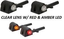 2-(L&R) RED & AMBER OPTRONICS LED TRAILER FENDER CLEARANCE SIDE MARKER LIGHTS*ZN