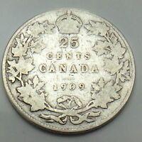 1909 Canada 25 Twenty Five Cents Quarter King Edward VII Canadian Coin G130