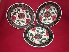 Antique Stick Spatter Style Large Bowl Belgium Ca. 1900 Black Border Floral