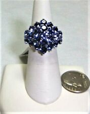 Ring in Stainless Steel Made with SWAROVSKI Tanzanite Color Crystal Size 5