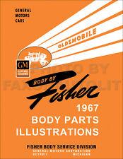 1967 Oldsmobile Body Parts Illustration Manual Olds 442 Cutlass 88 98 Toronado