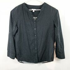 Croft & Barrow Petites Womens sz PL Blouse button down long sleeve black