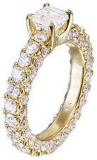 Ring Prong 2.90ctw H-Vs2 Egl Usa 14K Yellow Gold Asscher Cut Diamond Engagement