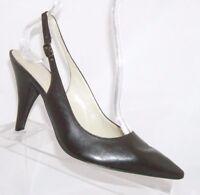 Nine West 'Thayle' brown leather pointed toe buckle slingback heel pump 7M