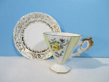 Cup Saucer Made Japan Hand Painted Luster Yellow Roses Demitasse Tea Chocolate