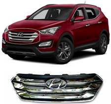 Front Bumper Upper Chrome Grille & Emblem For Santa Fe Sport 5 SEATS 2013 - 2016