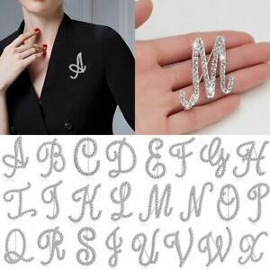 26 Letters Crystal Rhinestone Alphabet Brooch Pin Wedding Women Jewelry Gift Lot