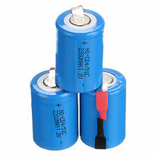 3Pcs NiCd 4/5 SubC Sub C 1.2V 2200mAh Rechargeable Battery with Tab Blue 33*22mm