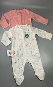 NEW ex store 2 pack baby girls floral bee pink polka cotton sleepsuits babygrows