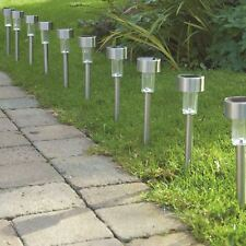 10 X Energía Solar Luces De Jardín Patio De Iluminación Led de exterior de correos de Acero Inoxidable