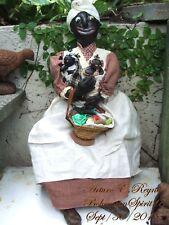 Arturo E.Reyna Primitive FOlK ART Black Americana Style RAG DOLL BASKET & BABIES
