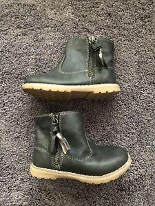 Next Girls Black Boots Size 8