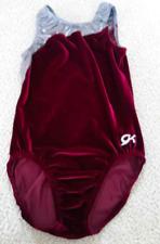 GK Elite Gymnastics Leotard  Maroon Velvet & Gray Size AL