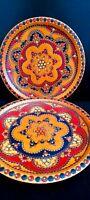 Vintage Romania Arta Mestesugarilos Arad Hand Carved Decorative Wood Oval Plates