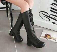 Womens Punk Chunky Block Heel Round Toe Lace Up Knee High Riding Boots All US Sz