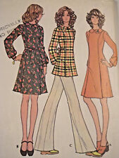 Mc-3409 Vintage 1970s Dress Smock Pants Sewing Pattern McCall's Bust 34 Complete