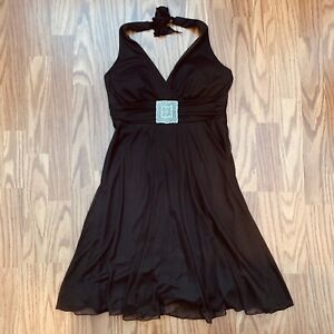 Studio Y Halter Swing Party Dress Chocolate Brown Bling Rhinestone Medium GUC!