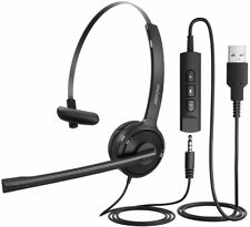 Mpow 3.5mm/USB Computer PC Headset Noise Cancelling Wired Call Center Headphones
