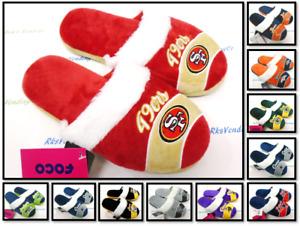 NFL Women's Stripe Logo Faux Fur Slippers House Shoes by FOCO F9