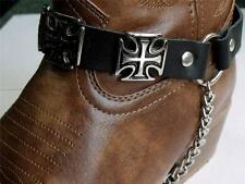 BLACK LEATHER MALTESE IRON CROSS BOOT CHAINS STRAPS BIKER WESTERN COWBOY BUCKLE
