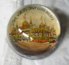 """3"""" Round Glass Dome Paperweight """"The World's Only Corn Palace Mitchell, Sd"""""""