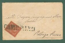 Storia postale Regno. CAMERINO in stampatello annullatore di cent. 2 rosso bruno