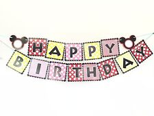Micky Mouse Style Happy Birthday Paper Banner Party Decoration Hanging Bunting