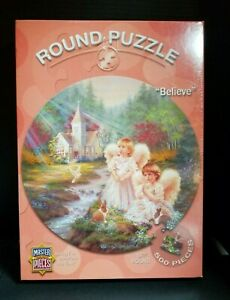 Believe Round Puzzle 500 Piece Angels Bunnies Church By Creek