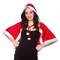 Miss Santa Claus Short Velour Hooded Cape Christmas Fancy Dress Ladies Costume