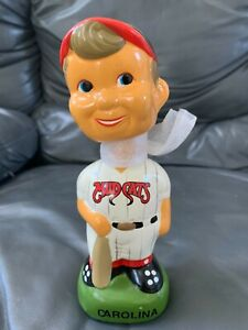 Carolina Mudcats TEI Baseball Generic Boy Green Base Bobblehead NIB