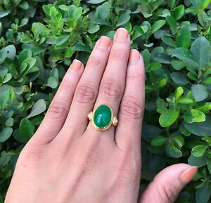Mughal Style 22k Gold Ring Cabochon Emerald Gemstone with Diamond Size 7.25