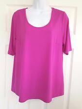 Bob Mackie Women's Short Sleeve Top Beautiful Bright Pink Fuchsia Tee SZ L