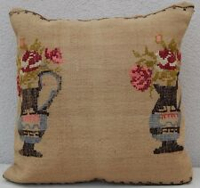 Floral Needlepoint Tapestry Aubusson Pink Kilim Rug Pillow Cover 20'' X 20''