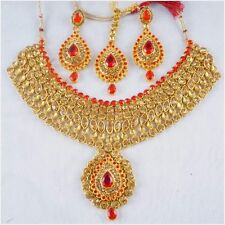 Indian Bollywood Necklace Earrings Set Pendant Gold Red Bridal Fashion Jewelry
