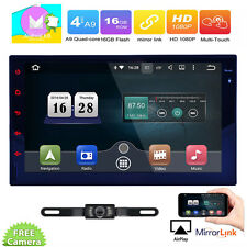 Double 2 Din Car Stereo Full-touch Screen Android 6.0 Quad Core GPS Wifi Camera