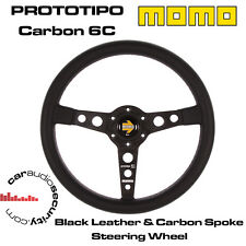 Momo prototipo 350MM Negro Cuero Carbono 6C Volante