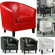 Bonded Leather Tub Chair Armchair Sofa Seat For Dining Living Room Office Home