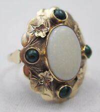Vintage 585 14ct Gold Precious Opal Cabochon & Malachite Ring Size O