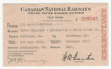 Railroad Trip Pass, for Chief Engineer, CANADIAN NATIONAL RAILWAYS, 1926-1927