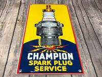 "VINTAGE CHAMPION SPARK PLUG SERVICE 18"" X 8"" PORCELAIN METAL GASOLINE & OIL SIGN"