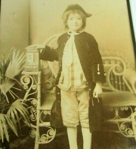 1880s Antique Cabinet Photo Boy In Uniform 3 Corner Hat Quaker White Rolled Oats