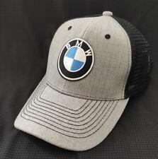 BMW Ball Cap Heather Gray & Black mesh Hard Buckrim Snapback BMW Hat
