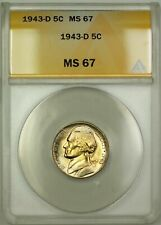 1943-D Wartime Silver Jefferson Nickel 5c Coin ANACS MS-67 Lightly Toned (C)